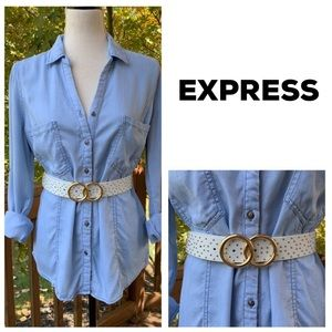NWT EXPRESS White & Gold Stud & Double O Ring Belt